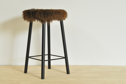 Deer Hide Stool 25mm Round Mild Steel With A Wood Seat Covered In A Piece  Of Wild New Zealand Red Deer Hide   Caught Locally In The Kaimai Forest.